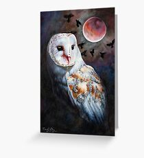Owl of the Blood Moon Heart Greeting Card