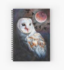 Owl of the Blood Moon Heart Spiral Notebook
