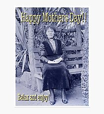Mothers Day Edwardian Lady on Bench Photographic Print