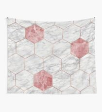 Rosa marble hexagons Wall Tapestry