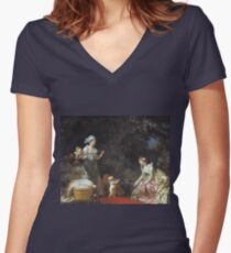 Jean-Honore Fragonard - The First Steps 1780 Women's Fitted V-Neck T-Shirt