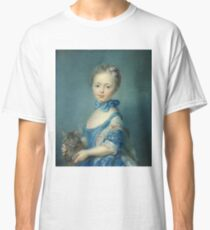 Jean-Baptiste Perronneau - A Girl With A Kitten Classic T-Shirt