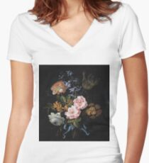 Jean-Baptiste Monnoyer - A Bouquet Of Poppy Anemones, York-And-Lancaster Roses, Double Camparnelle, A Hyacinth, A Tulip And Auricula Tied With A Blue Ribbon Women's Fitted V-Neck T-Shirt