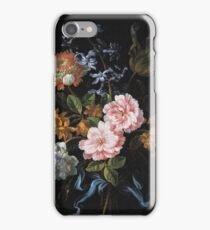 Jean-Baptiste Monnoyer - A Bouquet Of Poppy Anemones, York-And-Lancaster Roses, Double Camparnelle, A Hyacinth, A Tulip And Auricula Tied With A Blue Ribbon iPhone Case/Skin