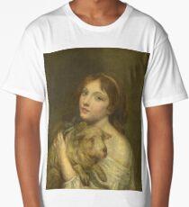Jean-Baptiste Greuze - A Girl With A Lamb Long T-Shirt