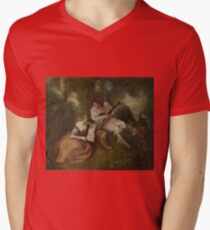 Jean-Antoine Watteau - The Scale Of Love Mens V-Neck T-Shirt
