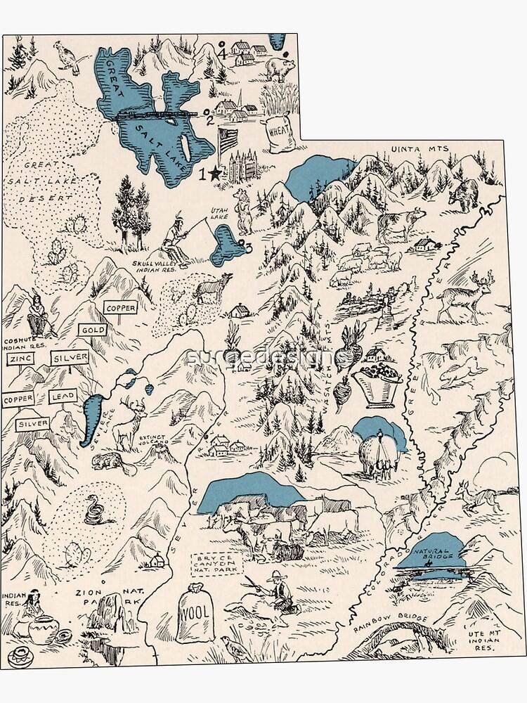 Mapa de la imagen de Utah Vintage de surgedesigns