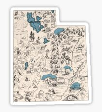 Utah Vintage Picture Map Sticker
