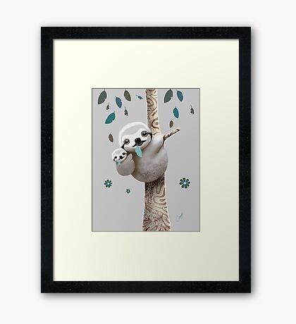 Baby Sloth Twilight Framed Print