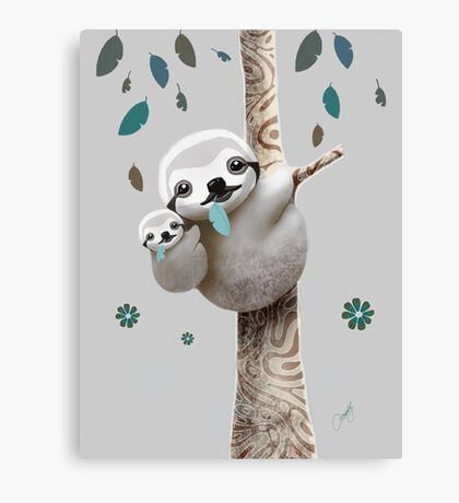 Baby Sloth Twilight Canvas Print