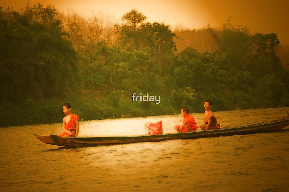 monks in a  boat  by Amagoia  Akarregi