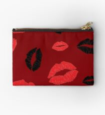 Red, Red, Black Kisses Lips Studio Pouch