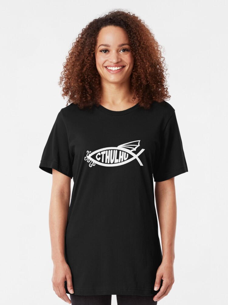 Alternate view of Cthulhu Fish Slim Fit T-Shirt