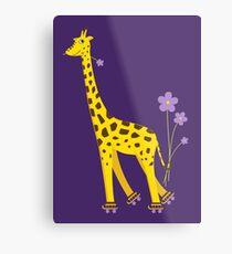Purple Cartoon Funny Giraffe Roller Skating Metal Print