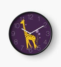 Purple Cartoon Funny Giraffe Roller Skating Clock