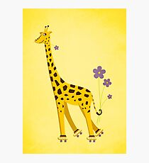 Yellow Cartoon Funny Giraffe Roller Skating Photographic Print