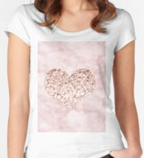 Rose gold - heart Women's Fitted Scoop T-Shirt