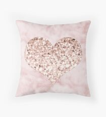 Rose gold - heart Throw Pillow