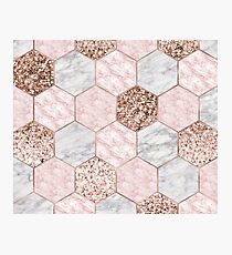 Rose gold dreaming - marble hexagons Photographic Print