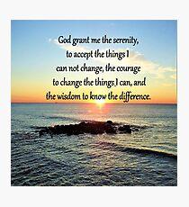 INSPIRING SERENITY PRAYER SUNRISE PHOTO Photographic Print