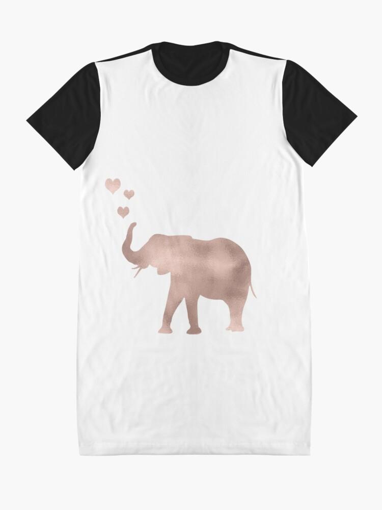 Vista alternativa de Vestido camiseta Elefante amor - hoja de oro rosa