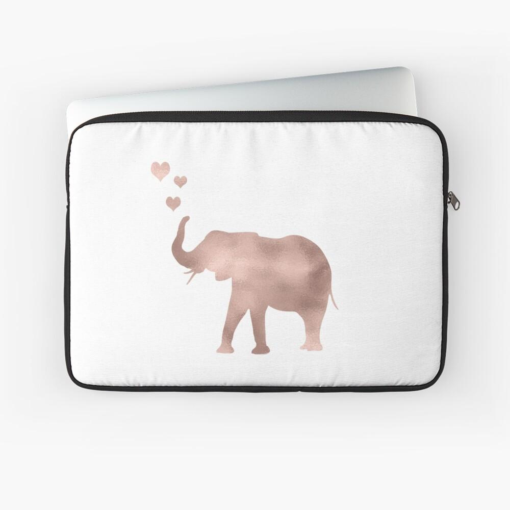 Elefante amor - hoja de oro rosa Funda para portátil