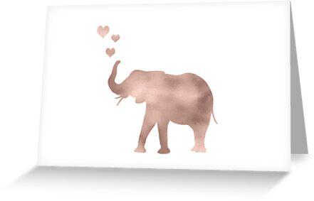 «Elefante amor - hoja de oro rosa» de peggieprints