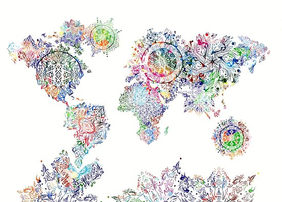 World Map Mandala White Posters By BekimART Redbubble - Mandala map of the world
