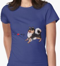 I Heart My Finnish Lapphund - Black and Tan - Play Womens Fitted T-Shirt