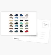 Austin Mini classic - 60's original car colours  Postcards