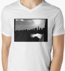 Black and White NYC Skyline Mens V-Neck T-Shirt