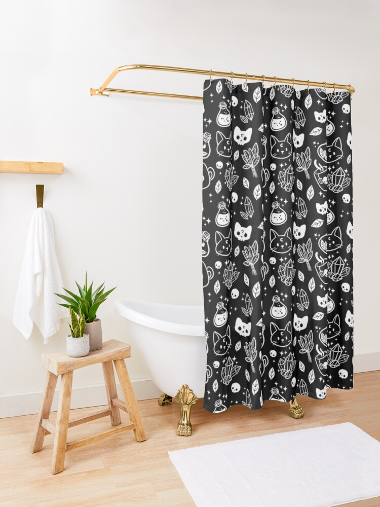 Alternate view of Herb Witch // Black & White Shower Curtain