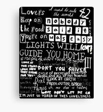 Lyrics Coldplay Canvas Print