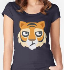 Cartoon Tiger Face Women's Fitted Scoop T-Shirt