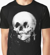 Woman with Halloween Skull Reflection In Mirror Graphic T-Shirt