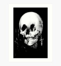Woman with Halloween Skull Reflection In Mirror Art Print
