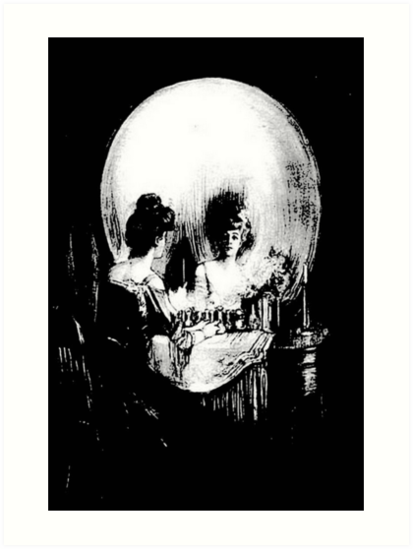 Woman with Halloween Skull Reflection In Mirror