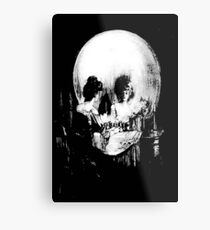 Woman with Halloween Skull Reflection In Mirror Metal Print