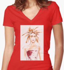 fashion #54: Girl with a haircut like feathers and in corset with spots Women's Fitted V-Neck T-Shirt