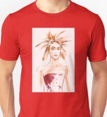 fashion #54: Girl with a haircut like feathers and in corset with spots Unisex T-Shirt