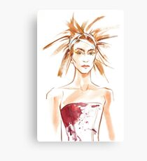 fashion #54: Girl with a haircut like feathers and in corset with spots Canvas Print