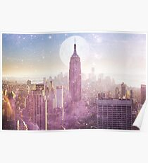 ICH LIEBE ROSA NEW YORK CITY SKYLINE - Vollmond-Universum Poster