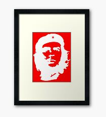 Che, Guevara, Rebel, Cuba, Peoples Revolution, Freedom, WHITE on RED Framed Print