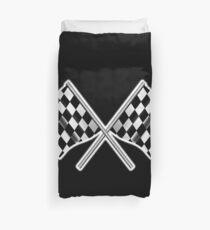 RACE, CAR, Checkered Flag, Crossed, Motorsport, WIN, WINNER, Chequered Flag, Racing Cars, Race, Finish line, on BLACK Duvet Cover