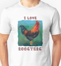 """I Love Roosters"" colorful, cute rooster design T-Shirt"
