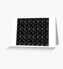 Floral Pattern 3 with Black Background Greeting Card