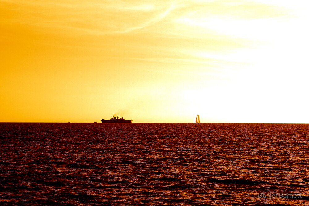 Sunset, Ship and Sail by Daniel Barnett