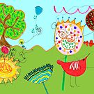 'red bird in a happy landscape', colorful, happy, drawing of a landscape with a bird, flowers and trees by mariska eyck