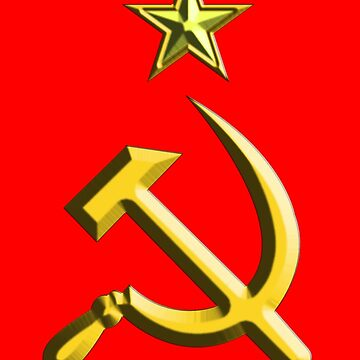 RUSSIA, USSR, Communist, Soviet Union, Hammer & Sickle, GOLD on RED by TOMSREDBUBBLE