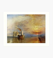 TURNER, The Fighting Temeraire, 1839, by Joseph Mallord William Turner. on White Art Print